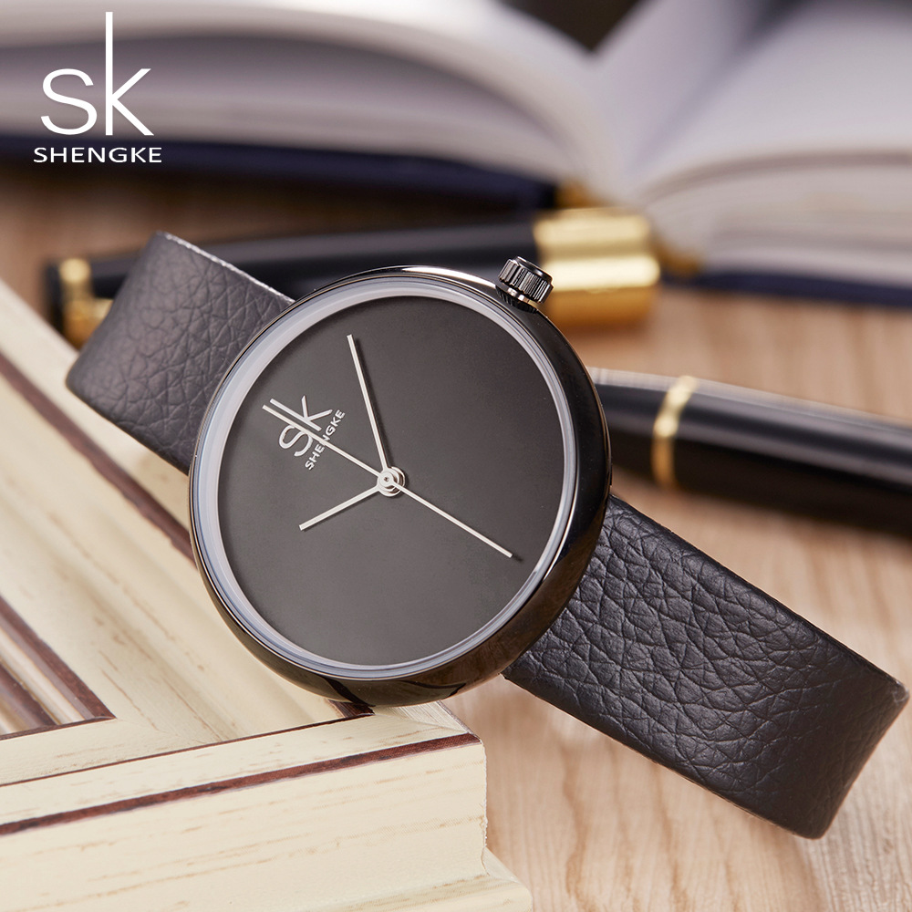 Shengke Famous Brand Women Watches Leather Band Casual Style Ladies - Relojes para mujeres