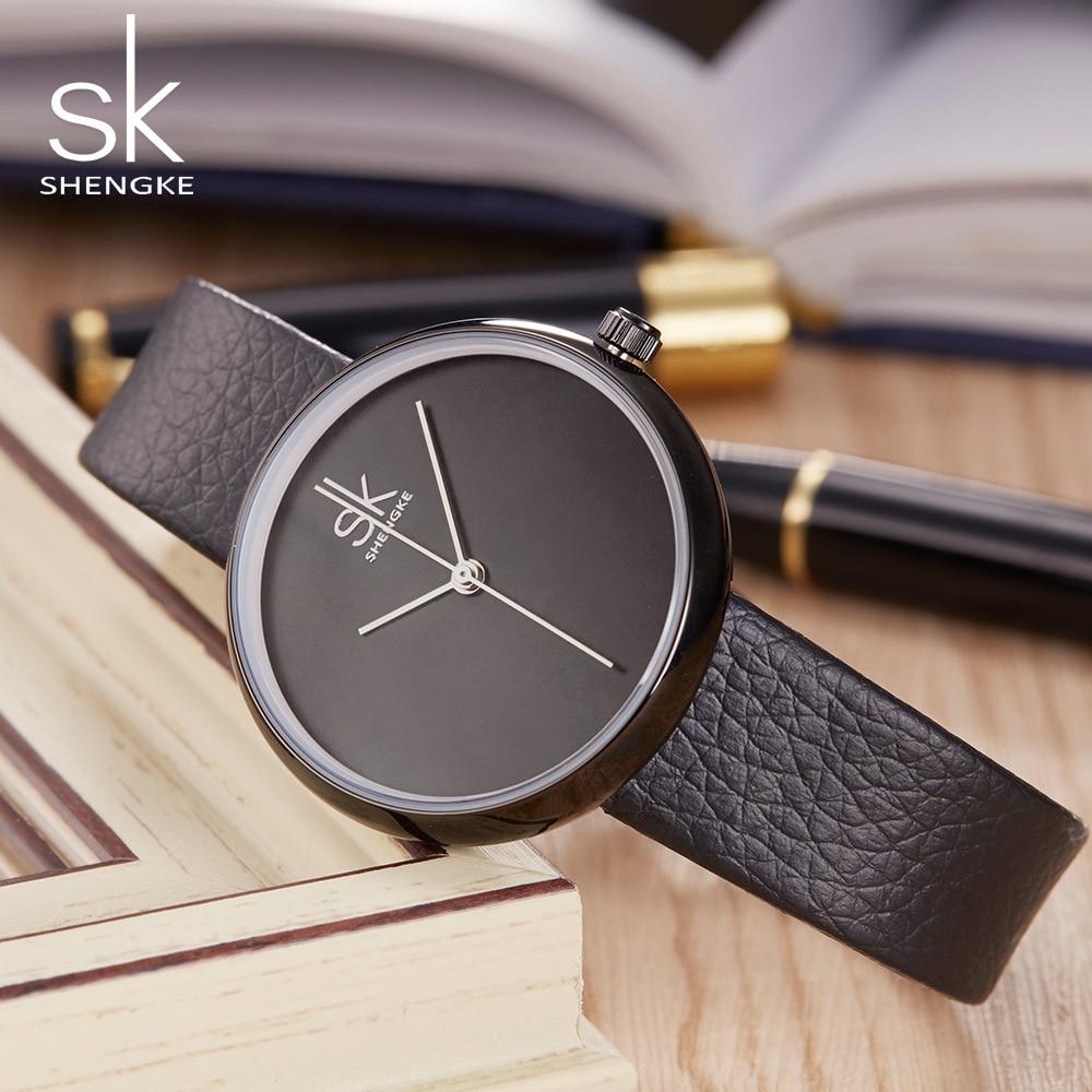 Shengke beroemde merk vrouwen horloges lederen band casual stijl - Dameshorloges