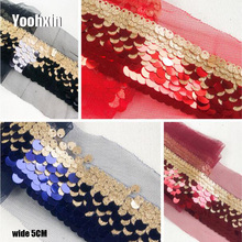 5CM Wide HOT Cotton Embroidery sequin flower lace fabric dubai sewing DIY trim material applique Ribbon collar guipure decor