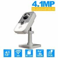 מקורי HIK DS-2CD2442FWD-IW onvif המצלמה poe IP מקורה אבטחה אלחוטית מצלמה מצלמת IR Cube WiFi beveiligings 4MP