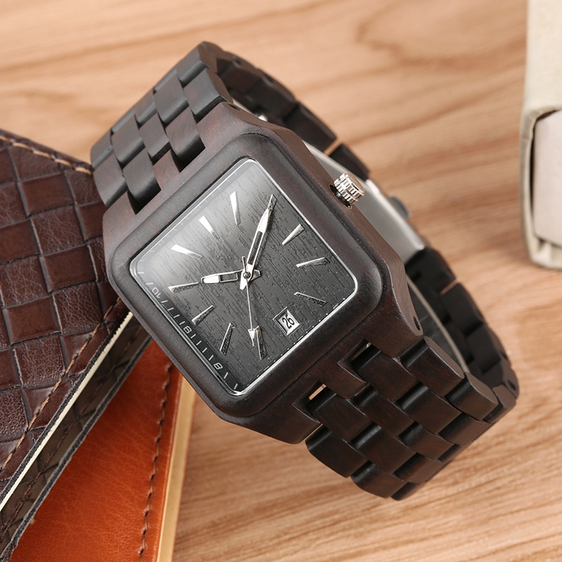 Retro Wood Watches For Men Unique Rectangle Dial Light Clock Man Full Natural Woody Bracelet Calendar Date Quartz Wrist Watches