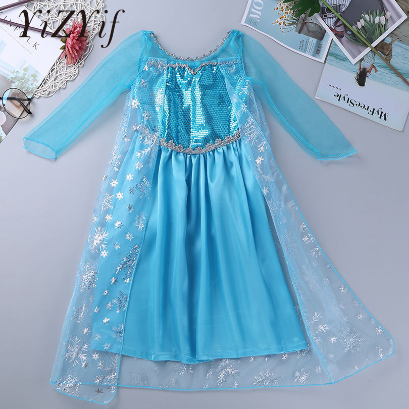 Kids Costumes & Accessories Girls Costumes New Kids Girls Mesh Long Sleeve Princess Fancy Dress Cosplay Costumes Glittering Sequins Snowflake Holiday Halloween Party Dress