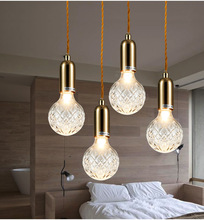 Nordic Glass Lampshade Loft Led Pendant Lights Edison Bulb Restaurant Light Bedroom Lamp Pendant Lamp Hanging Light Fixtures free shipping ac90 260v avintage cord pendant lights clear glass lampshade edison bulb pendant lamp for dining room ktv bar