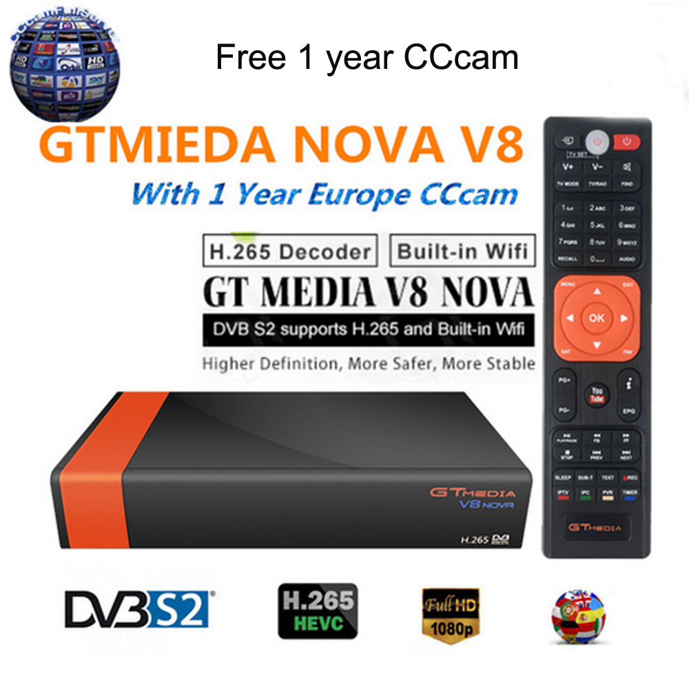 Freesat V8 upgrade Gtmedia V8 NOVA Satellite TV Receiver DVB S2 cccam cline for 1 year europe Built in Wifi Dongle High Quality-in Satellite TV Receiver from Consumer Electronics