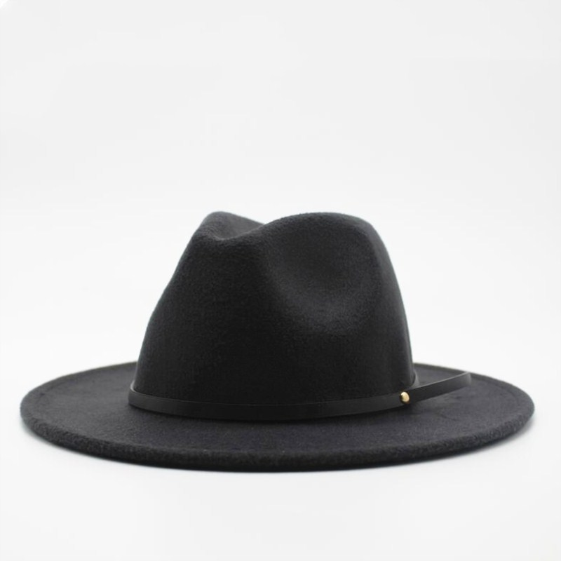 Wool Fedora Hat Hawkins Felt Cap Wide Brim Ladies Trilby Chapeu Feminino Hat  Women Men Jazz b00c3232b67