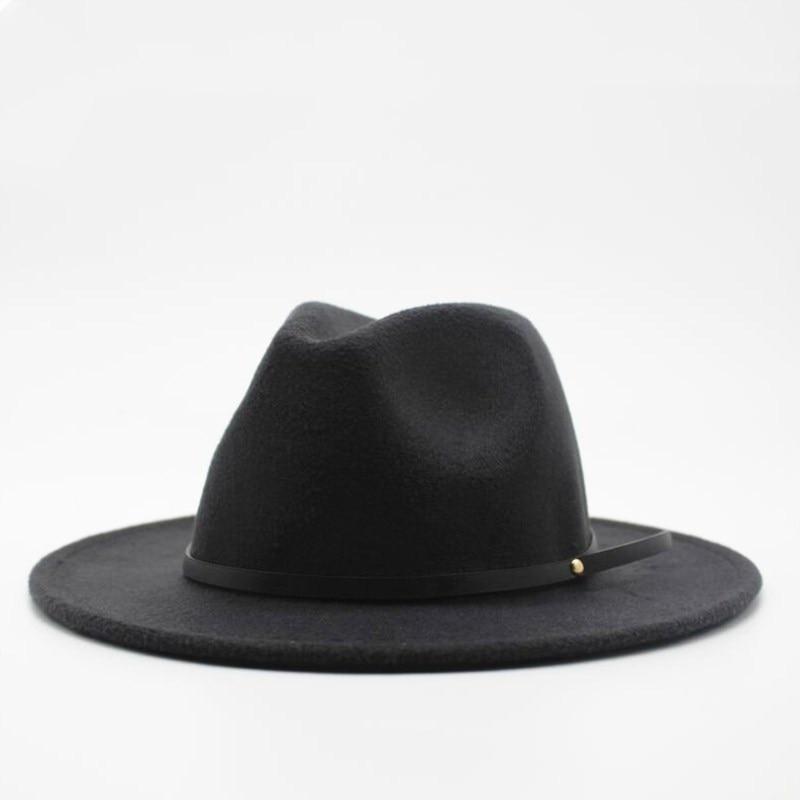 Wool Fedora Hat Hawkins Felt Cap Wide Brim Ladies Trilby Chapeu Feminino Hat Women Men Jazz Church Godfather Sombrero Caps