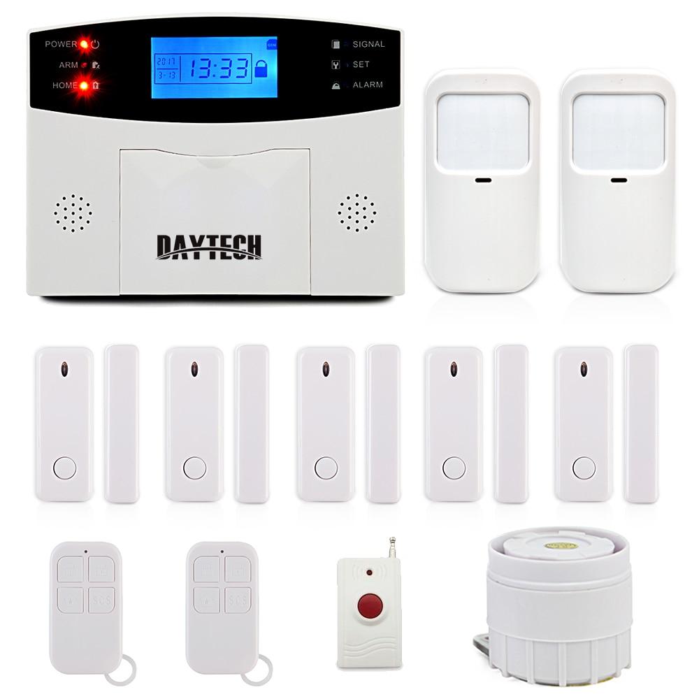 DAYTECH GSM Alarm System With LCD Display Siren PIR Motion Sensor Wireless Zones Remote Control Wireless PIR Door Gap Detector