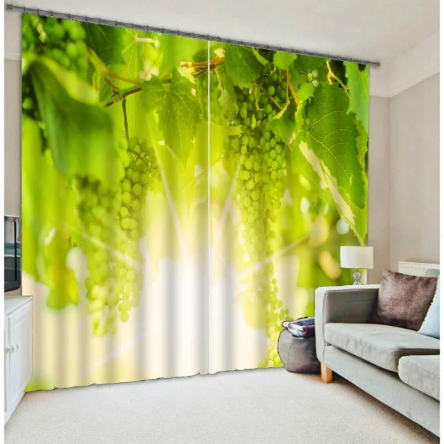 Fruit Grape Print Kitchen Curtains Modern 3D Curtains For Bedding Room  Living Room Hotel Office Drape Cortinas Home Decorative