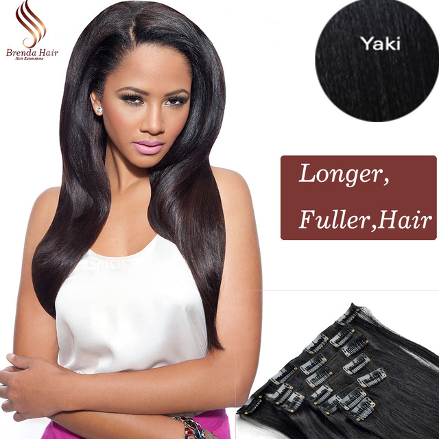 8a Clip In Human Hair Extensions Brazilian Yaki Straight Clip In