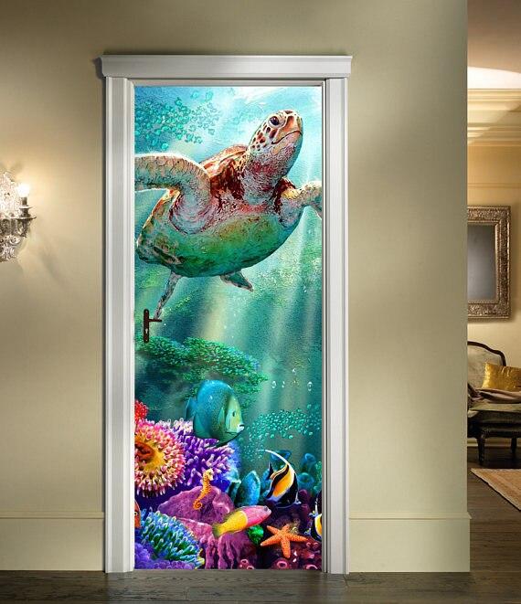 Home Decor Home & Garden Flight Tracker 3d Sea Turtle Door Sticker For Bedroom Living Room Gift Art Pvc Waterproof Decal Home Decoration Accessories 77*200cm