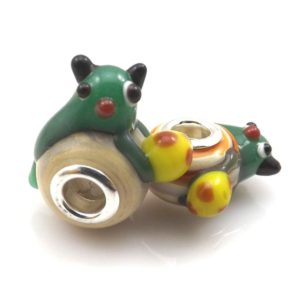 Модные, в виде животных Стекло бусины с большими отверстиями для украшение «флейта Пана», смешанные европейские шарики(50 шт./лот