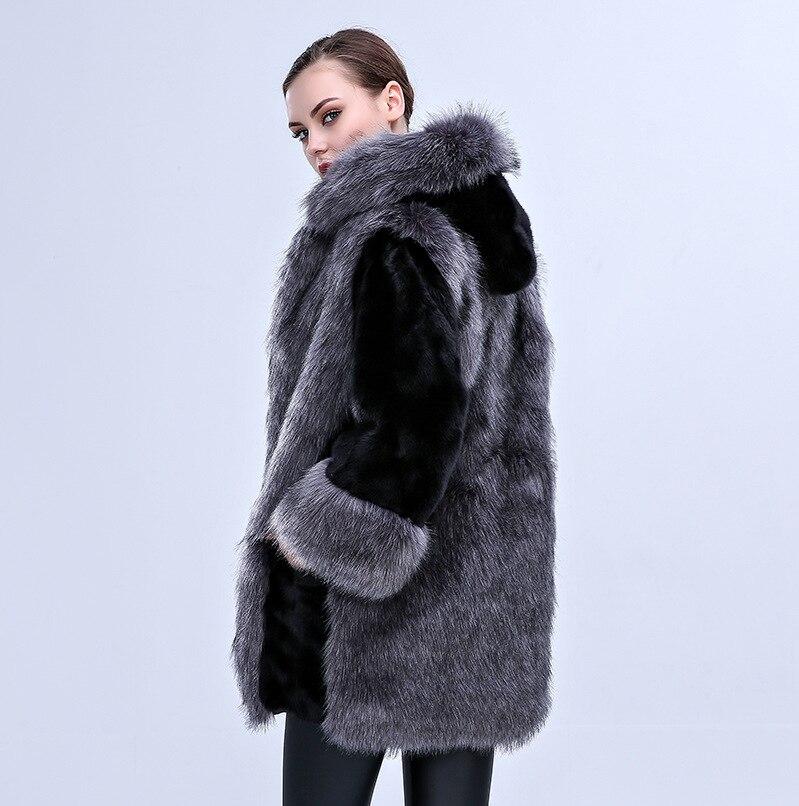 La Manteaux Manteau Taille En Longues Faux Plus Survêtement De 2018 Hiver Femmes Vestes Noir Capuche Fausse Automne À Manches Surdimensionné Chaud Fourrure Tops Vison 1XwZR
