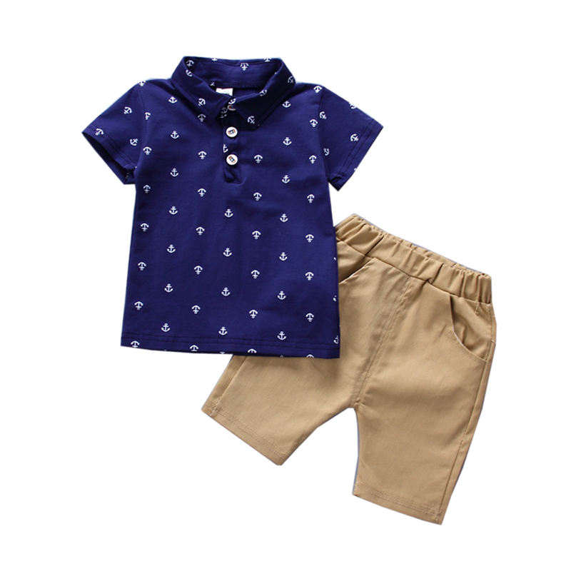 1 2 3 4 5 Year Boys Clothes 2018 New Summer Boy Set Fashion Polo-Shirt Shorts Baby Children Clothing Handsome Kids Suits