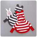 2016 Autumn New Pattern Korea Style Children's Garment Girl Baby Ears Even Hat Stripe Knitting Cloak Sweater Cloak Shawl