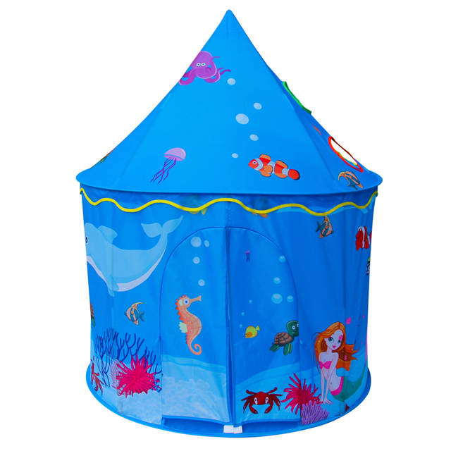 promo code ea12f 3b91d US $35.99 20% OFF|Children Play Tent Sea Ocean Beach Castle Kids Foldable  Pop Up Playhouse Best Indoor Outdoor Boys Girls Toddler House Toy Blue-in  ...