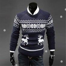 1cad3096ecbb1 2019 английский стиль мужской свитер пуловеры с оленями олень свитер тонкий  с круглым вырезом мужской свитер