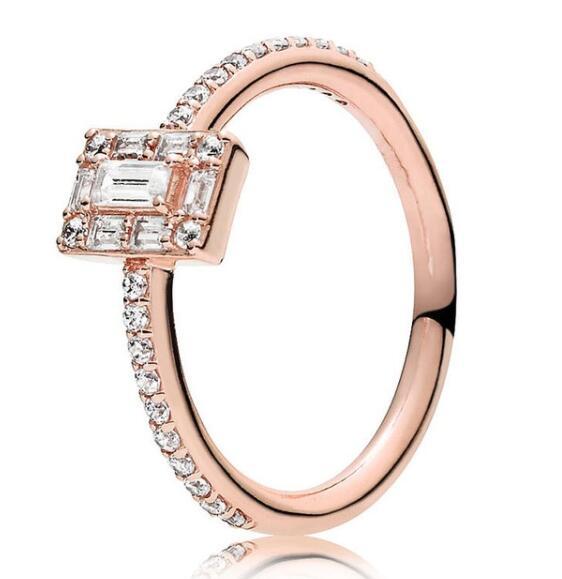 5c21339e78ef Auténtica Plata de Ley 925 anillo de Pandora Rosa luminoso hielo con  anillos de cristal para mujer ...
