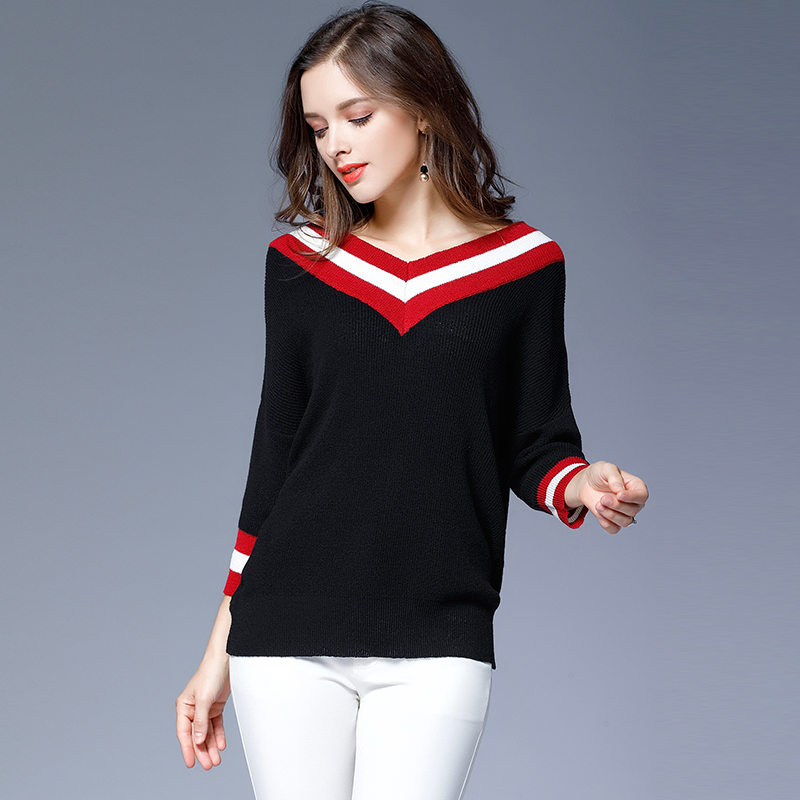 Fashionnable red white striped black loose sweater 3