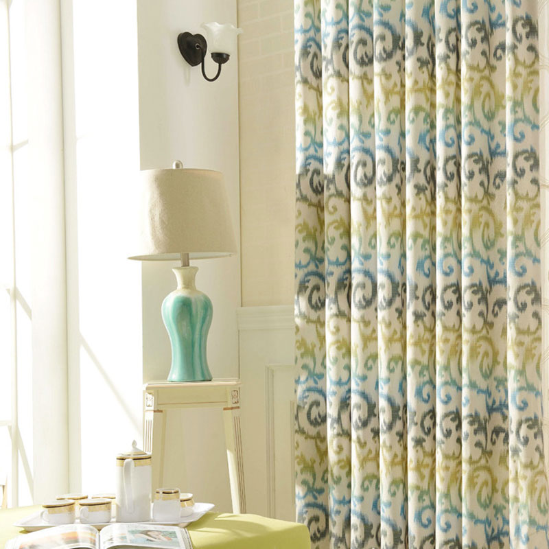 Attractive Kitchen Curtain Grommet Top Polyester Cotton Printed Drapes Yellow Geometric  Pattern Modern Living Room Curtains B16110 Part 21