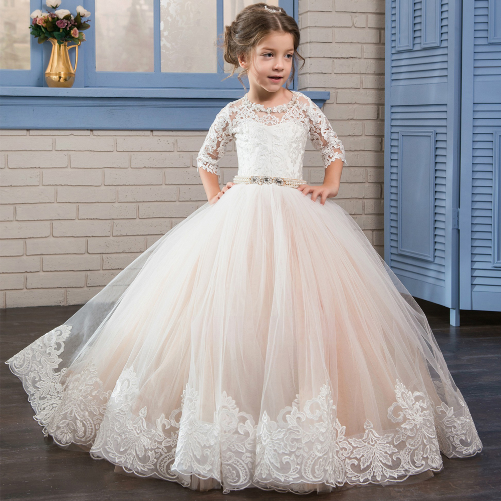 Adorable Girls Pageant Half Sleeves Dresses Satin Voile Appliques Crew Neck Baby Pink Elegant Ball Gown Evening Party Dress 2017 yellow hollow design crew neck flared sleeves dress