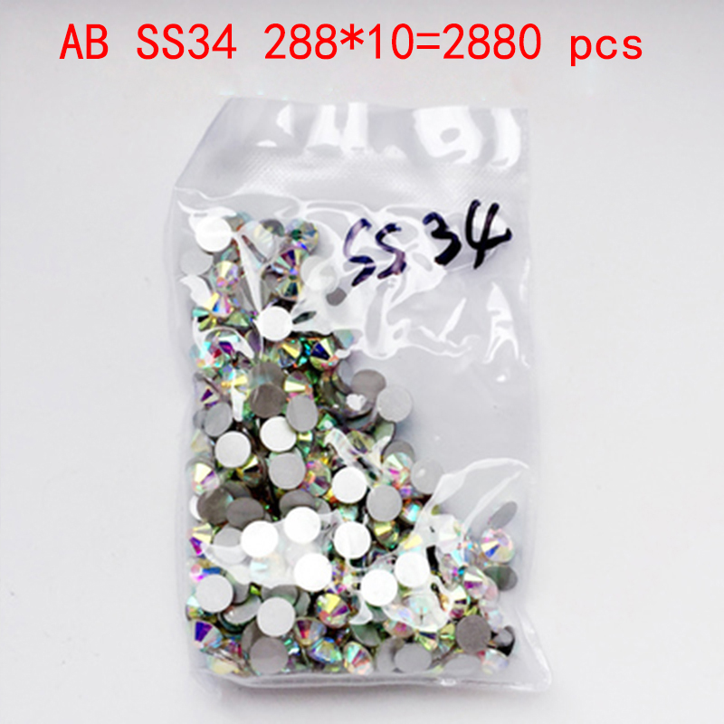 Wholesale Rhinestones New AB ss34 2880pcs 7.2mm Crystal Color Non Hotfix Rhinestones For Nails Flatback Nail Art Decorations glitter flatback crystal resin rhinestones 2 6mm aquamarine ab color new design for nail art decorations stick drill non hotfix