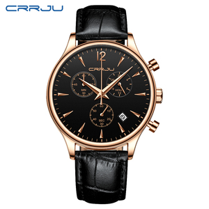 Image 2 - CRRJU relojes deportivos para hombre, de lujo, informal, resistente al agua, con correa de cuero de cuarzo, Masculino