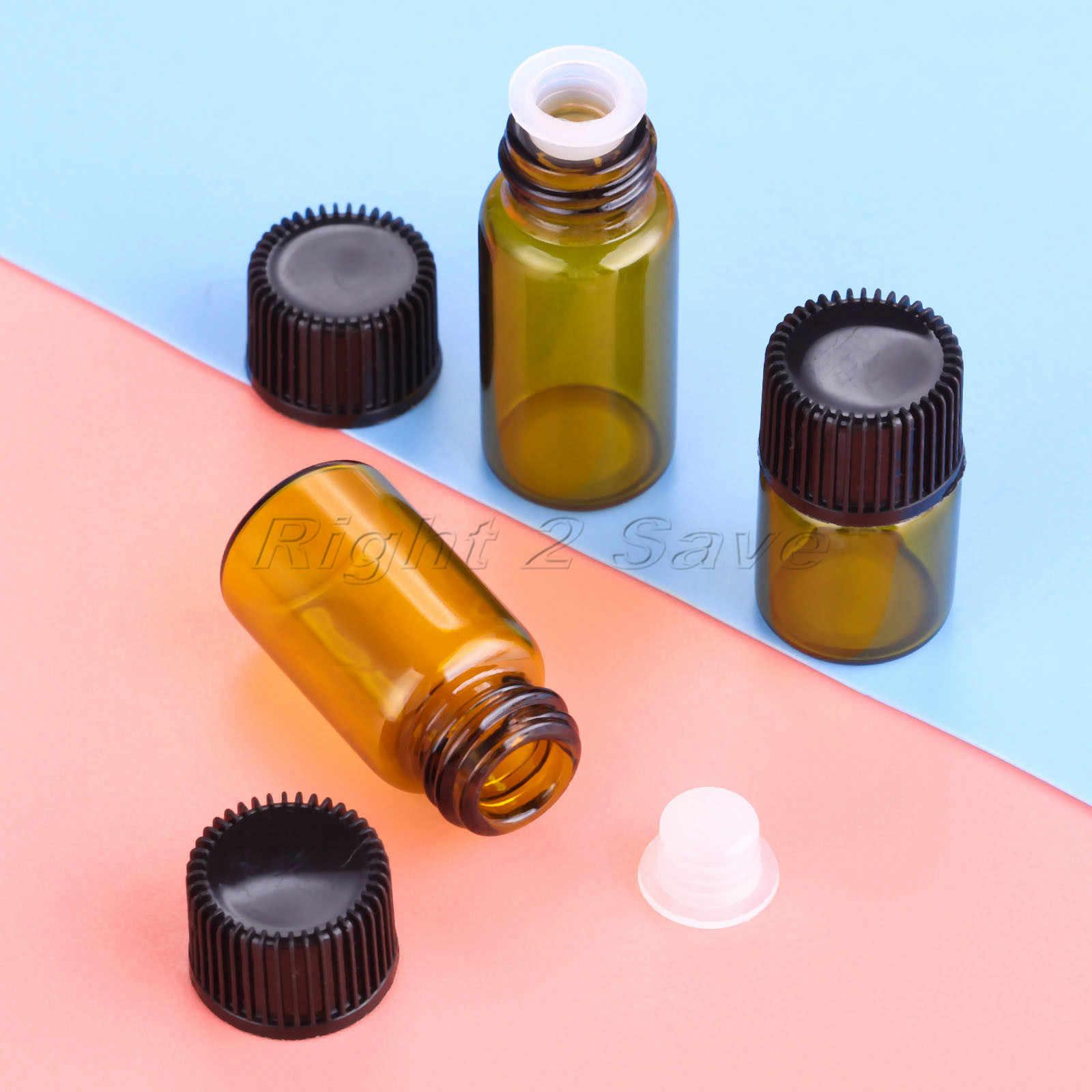 10 Uds botellas de cristal de aceite esencial 1ml 2ml 3ml 4ml 5ml Esencia de aceite vegetal Almacenamiento de aromaterapia tapa negra frasco de ámbar de Perfume