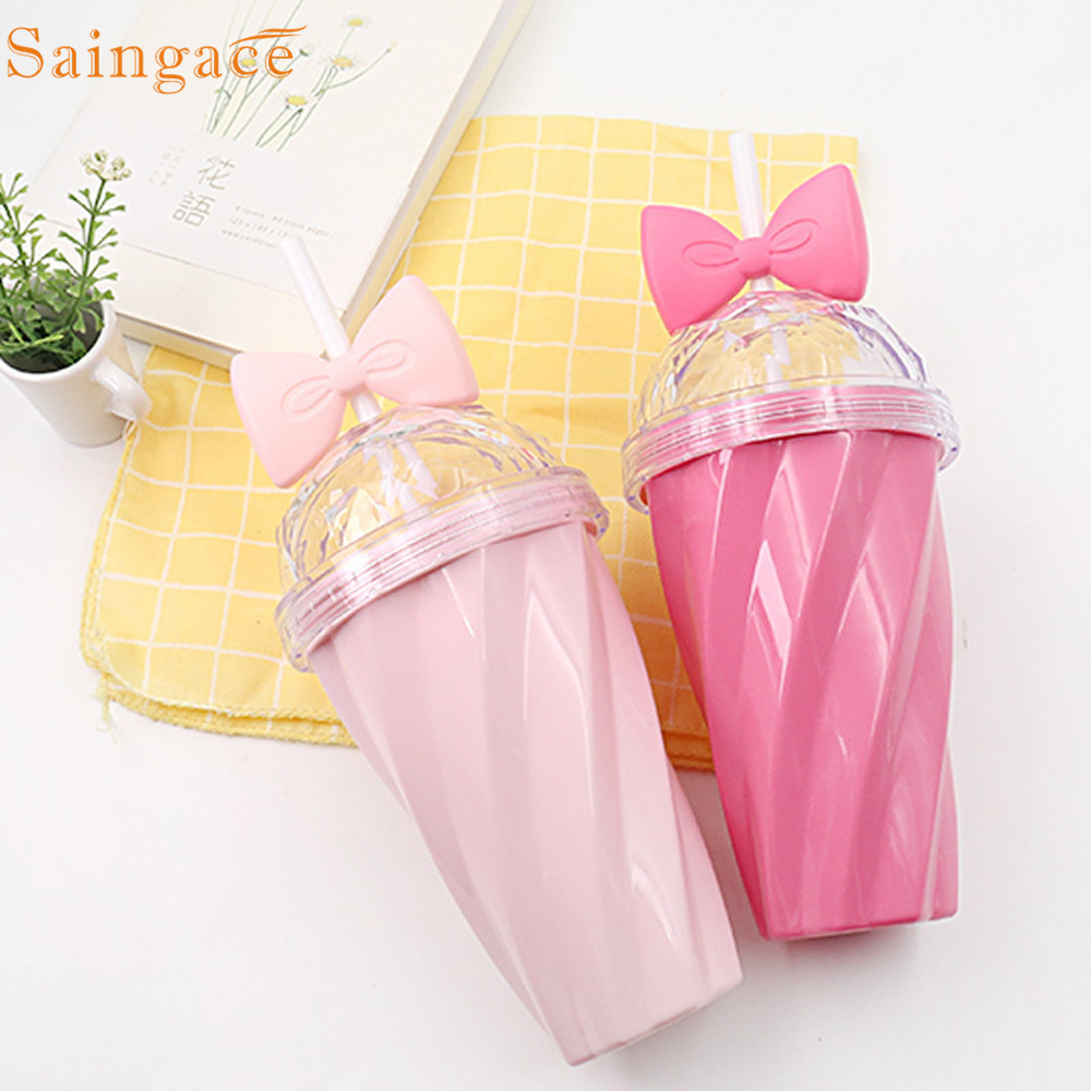 Saintgace Cups And Mugs Lovely Straw Pink Cups Cold Drink Cup Plastic With Bow Lid Straw Cup Dropshipping Hot Selling 2019 New