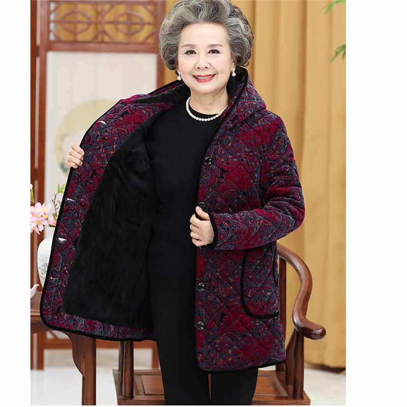 f391939f4c1 ... Grandma Cotton Coats Plus Size 5XL Winter Thicken Warm Hooded Outerwear  Elderly Women Cotton padded Jacket ...