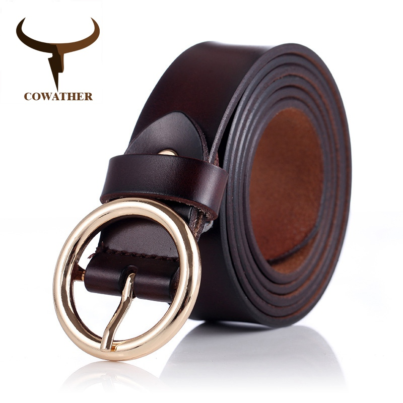 COWATHER women belts cow genuine leather good quality alloy pin buckle fashion style design cinto feminino original brand