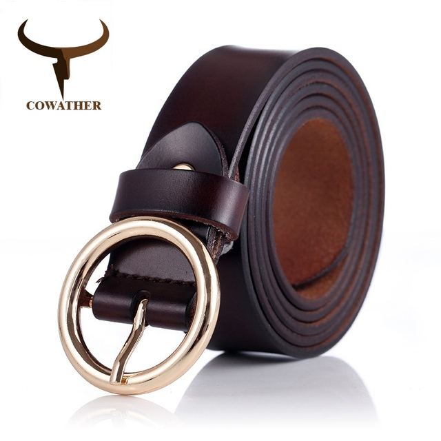 COWATHER women belts cow genuine leather good quality alloy pin buckle fashion style design cinto feminino