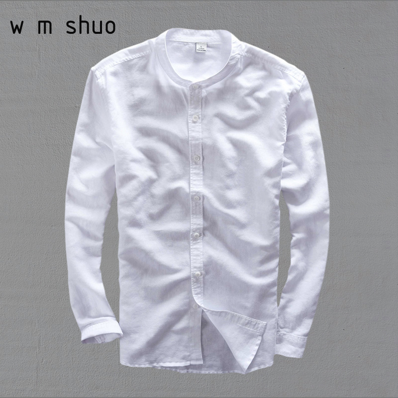 High Quality Shirt Men 2016 Fashion Slim Fit Long Sleeved Stand Collar Casual Shirts Fre ...