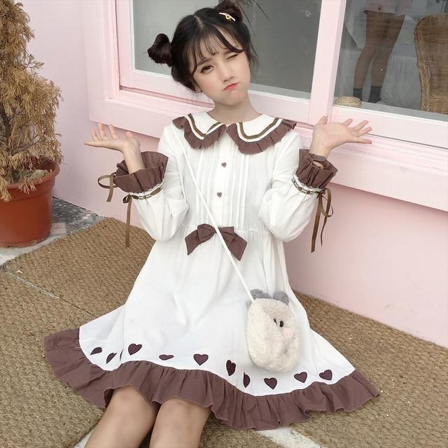 0539f85b005 Japanese Women s Sweet Dress Cute Bow Doll Collar Heart White Mini Dress  Kawaii Ruffles Bandage Long