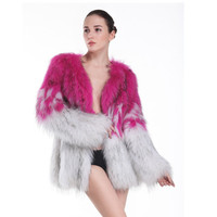 ZY89020 Korean Fashion Design Clothes For Women Winter Coats Knitted Real Raccoon Fur Warm Fur Coat