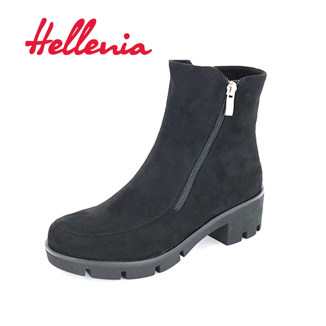 Hellenia Sexy Women Boots Boots Lady Rounded Toe Ankle Boots Waterproof Winter Fashion Casual Boots  fleeces lining autumn