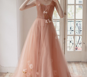 Long Prom Dresses 2019 New Light Nube pink  Illusion Appliques Long Sleeves Transparent Vestidos De Prom Gowns