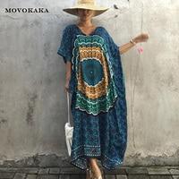 New Plus Size Blue Dress Long Dresses Women Elegant Thai Indonesian Style Robe Summer Dress Beach Casual Bat Sleeve Dresses Sale