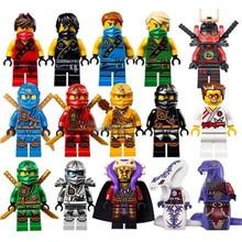 15pcs lot Ninja Figure Blocks Kai Jay Cole Zane Nya Lloyd Compatible With Legoingly Ninjagoed TOYS