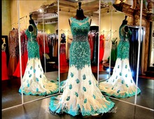 New Gorgeous Emerald Green Lace Applique Beading Tulle Mermaid Long Prom Dresses For Wedding Party