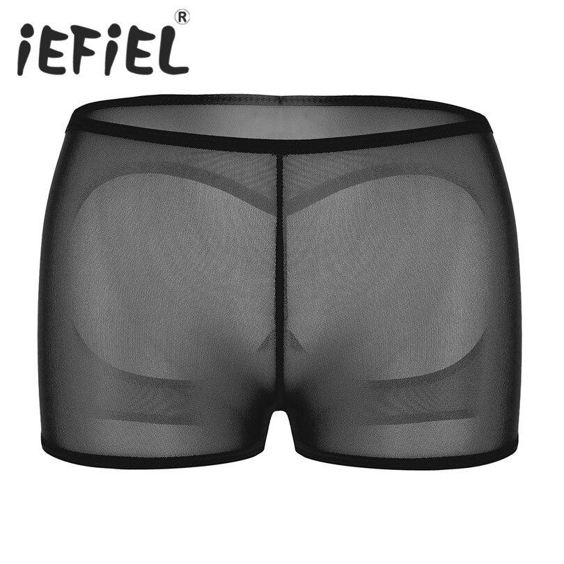 iEFiEL Sexy Women Lingerie  Mesh Open Butt Seamless Stretchy Boxer Briefs Underwear Underpants Butt Lifter Panties Boy Shorts