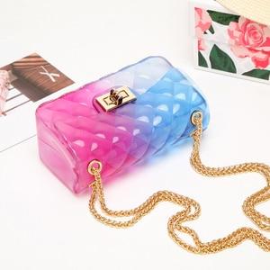 Image 3 - Модная цветная женская сумка из ПВХ высокого качества, прозрачная клетчатая желеобразная сумка через плечо, градиентная женская сумка на плечо ярких цветов