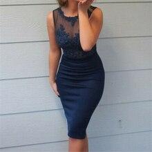 Офисное платье для женщин кружевное лоскутное платье без рукавов тонкое OL Деловое платье Элегантная одежда Вечерние платья синего цвета размера плюс