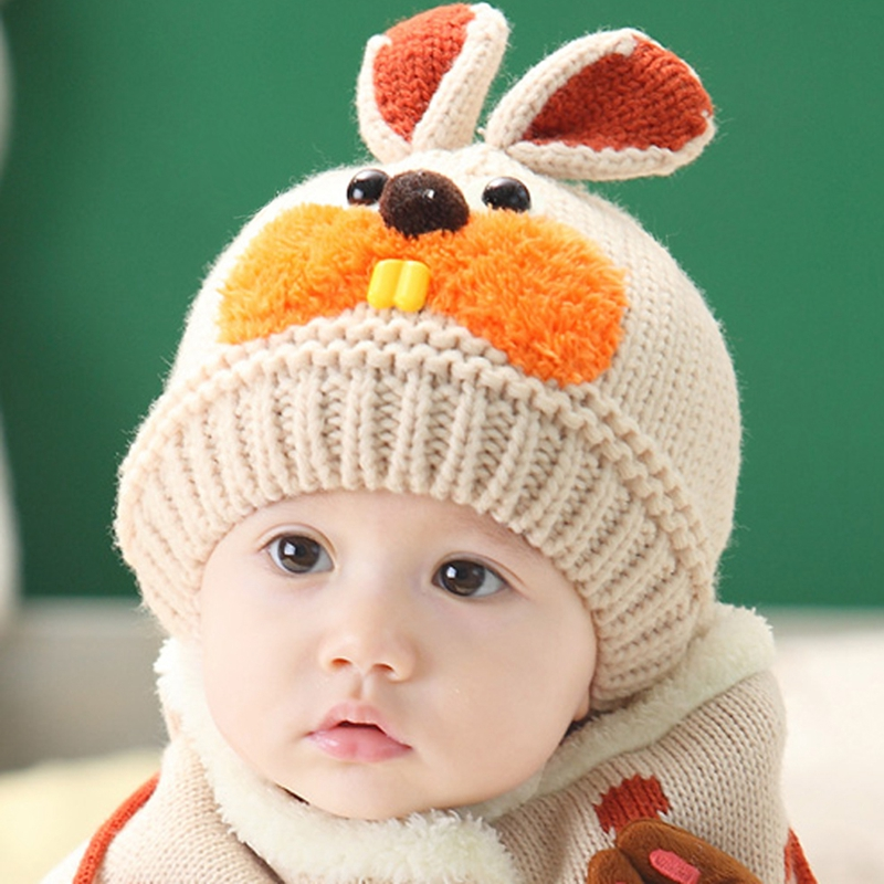 Toddlers Cute Bunny Crochet Beanie Kids Boys Girls Winter Knitted Hats  Adorable Rabbit Two Pieces Hats Scarf 6 Month-4 Years Old 1eb32f6b81c0