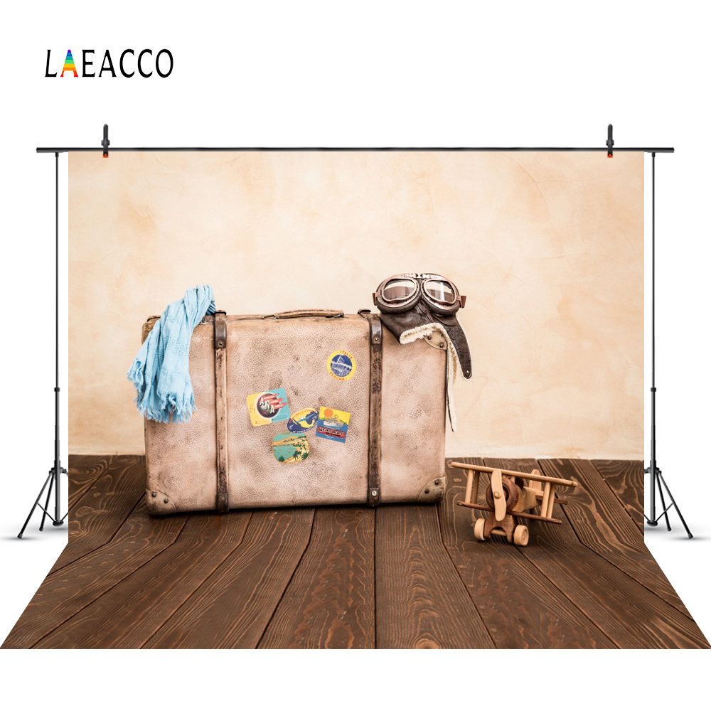 Laeacco Photo Backdrop Old Suitcase Plane Toys Wooden Board Doll Child Party Portrait Portrait Photo Background For Photo Studio in Background from Consumer Electronics