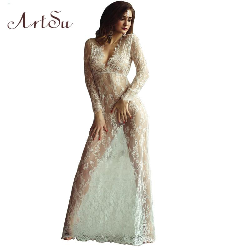ArtSu Dames Vloerlengte Zwart Wit Kanten Jurk Aanpassen Taille Sexy Zien Door Bloemen Vestido Gratis verzending DR5046