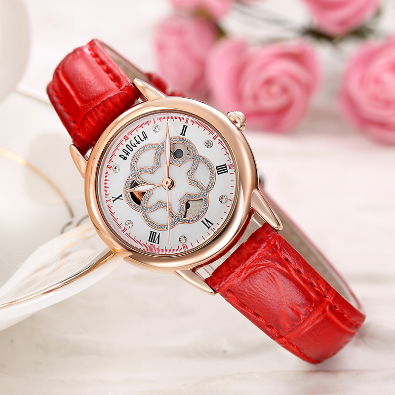 Baogela Womens White Dial Luxury Elegant Diamond Quartz Wrist Watch Hollow Watch