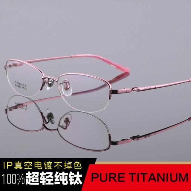 100% Super Light Pure Titanium Spectacle Frame High-grade luxury Women Half Optical Glasses Myopia reading frames Armacao tg6607