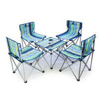 5Pcs Set Bright Detachable Camping Aluminium Alloy Extended Beach Chair Folding Fishing BBQ Table Chair For
