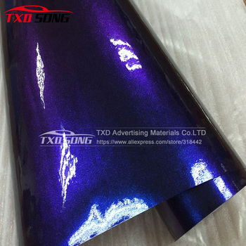 High quality Chameleon glitter pearl vinyl film,chameleon glitter dark blue to purple with air free bubbles with free shipping