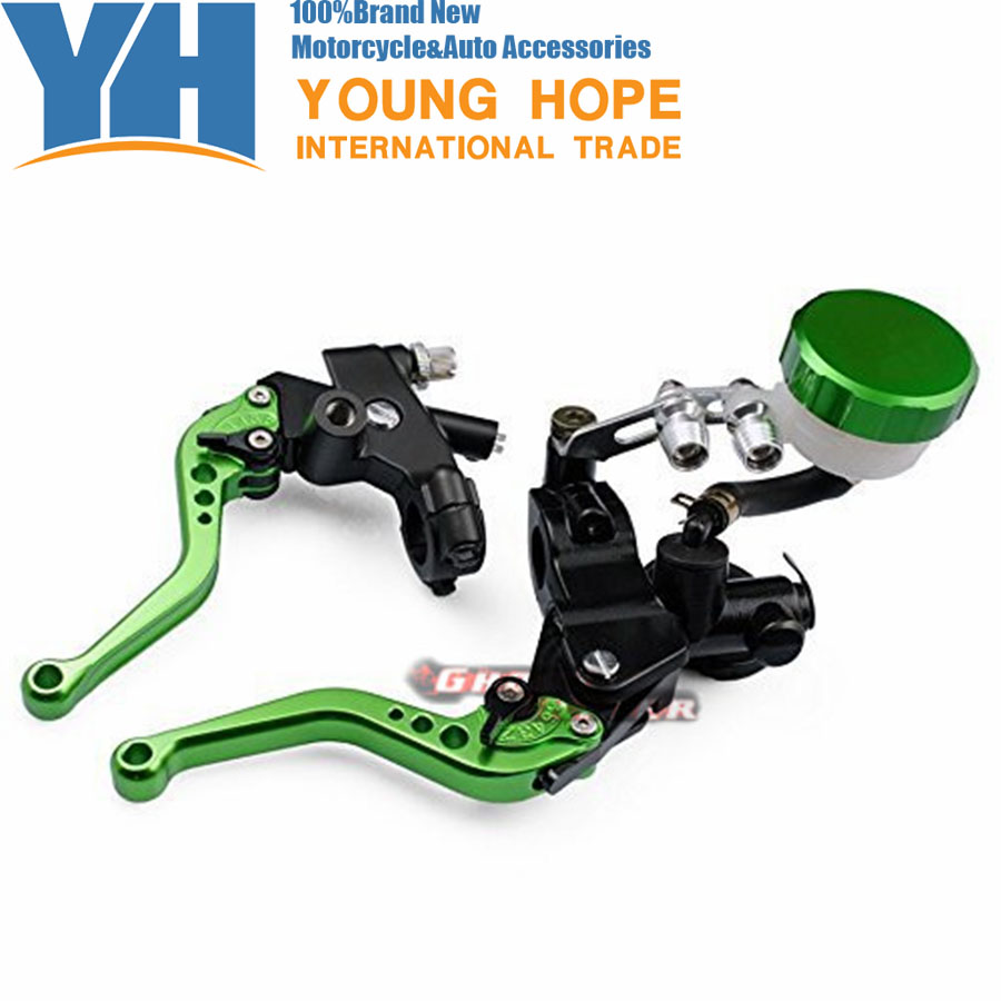 Motorcycle Parts 7/8(22mm) Racing CNC Adjustable Green Front Brake Clutch Short Levers Master Cylinder Fluid Reservoir Set wholesale and retail promotion luxury chrome brass pull down kitchen faucet swivel spout vessel sink mixer tap dual sprayer